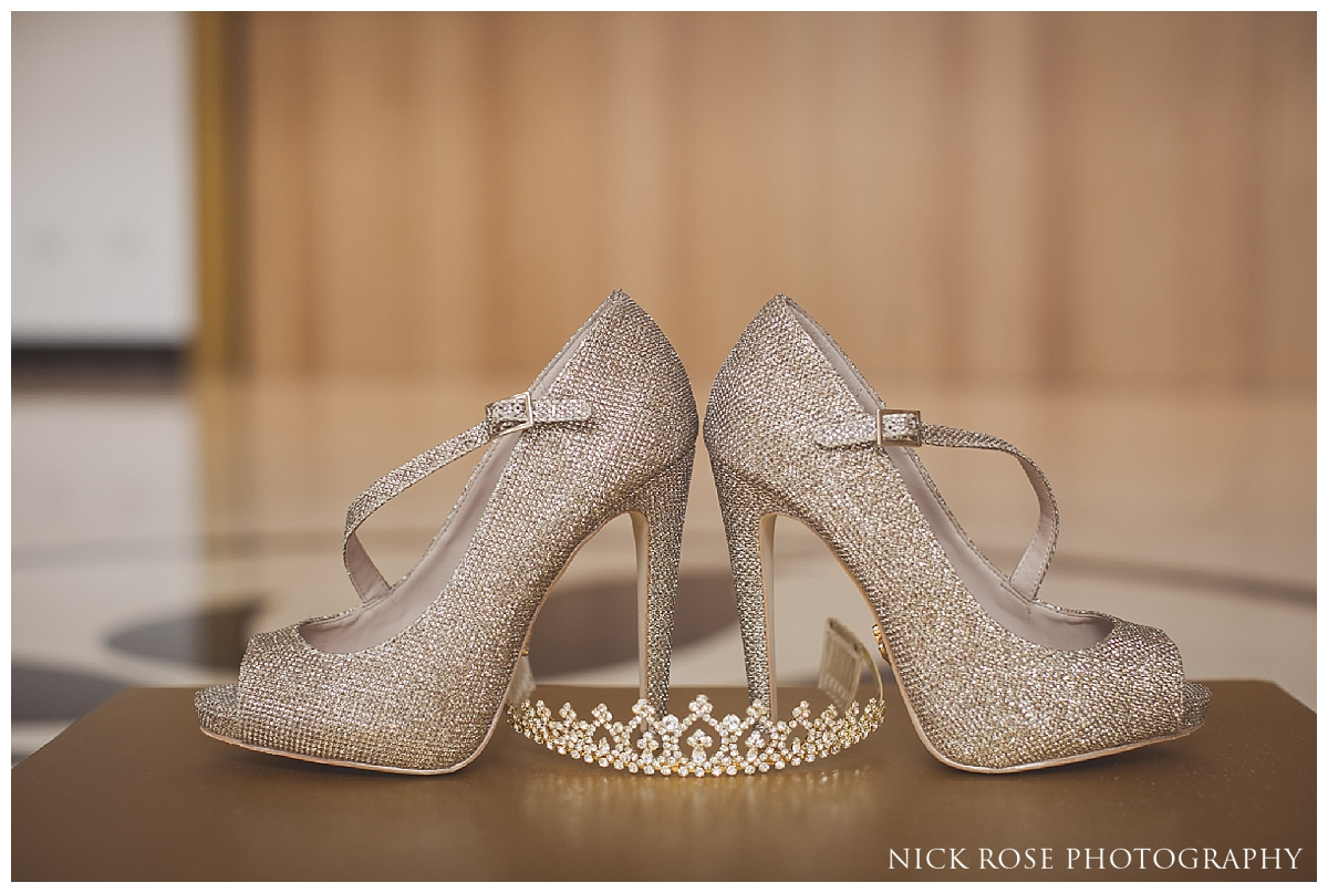 Brides wedding shoes for an English Asian wedding in North London