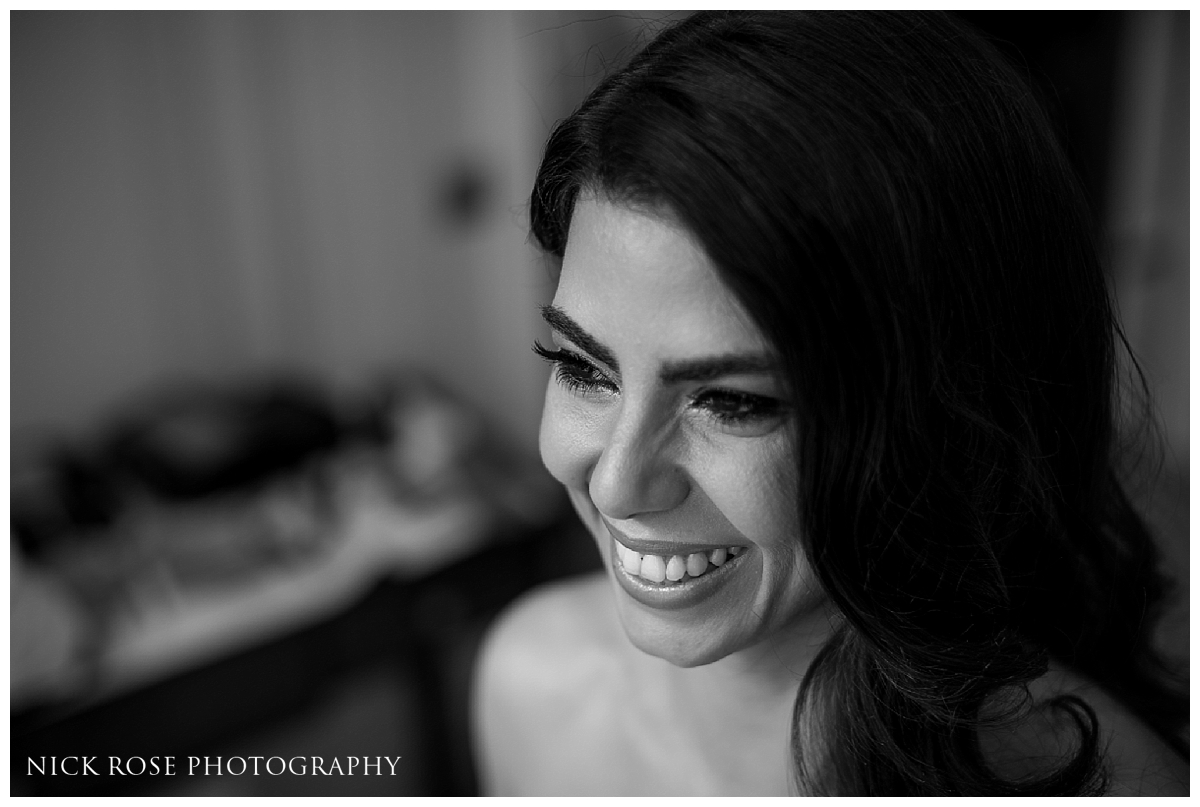 Bride getting ready for a central London wedding at Dartmouth House in Mayfair