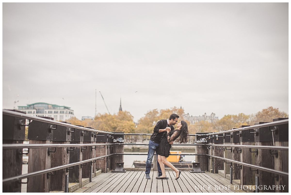 River Thames pre wedding photography in November in London