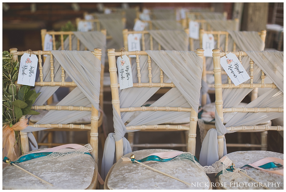 Wedding chairs for a Sikh civil garden wedding at The Dairy in Waddesdon Manor in Aylesbury Buckinghamshire