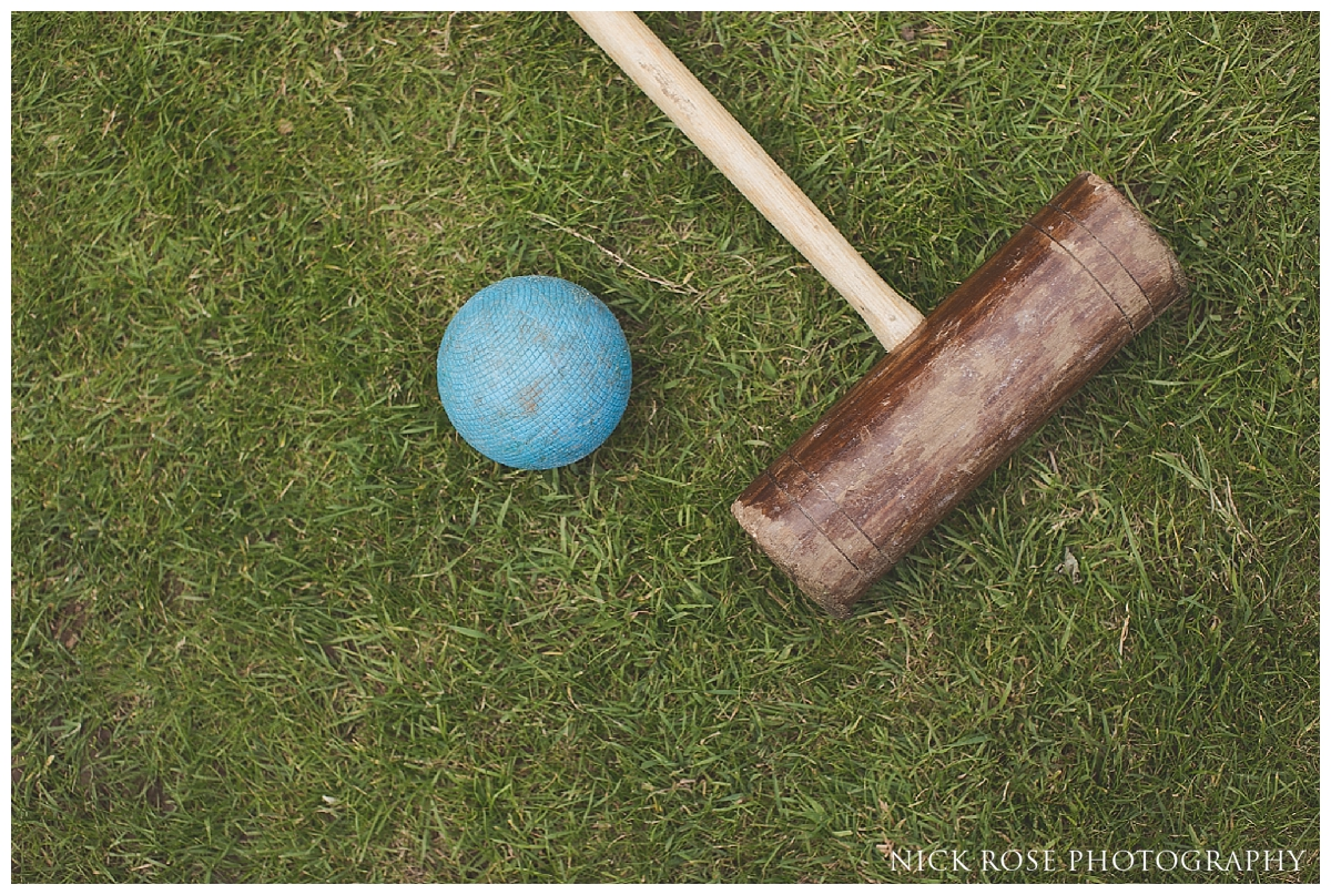 Outdoor croquet for a garden wedding in Buckinghamshire at Waddesdon Manor