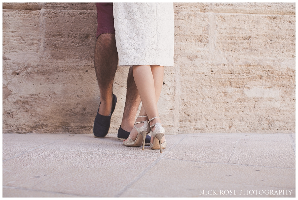 Destination engagement photography in the old town of Valencia, Spain