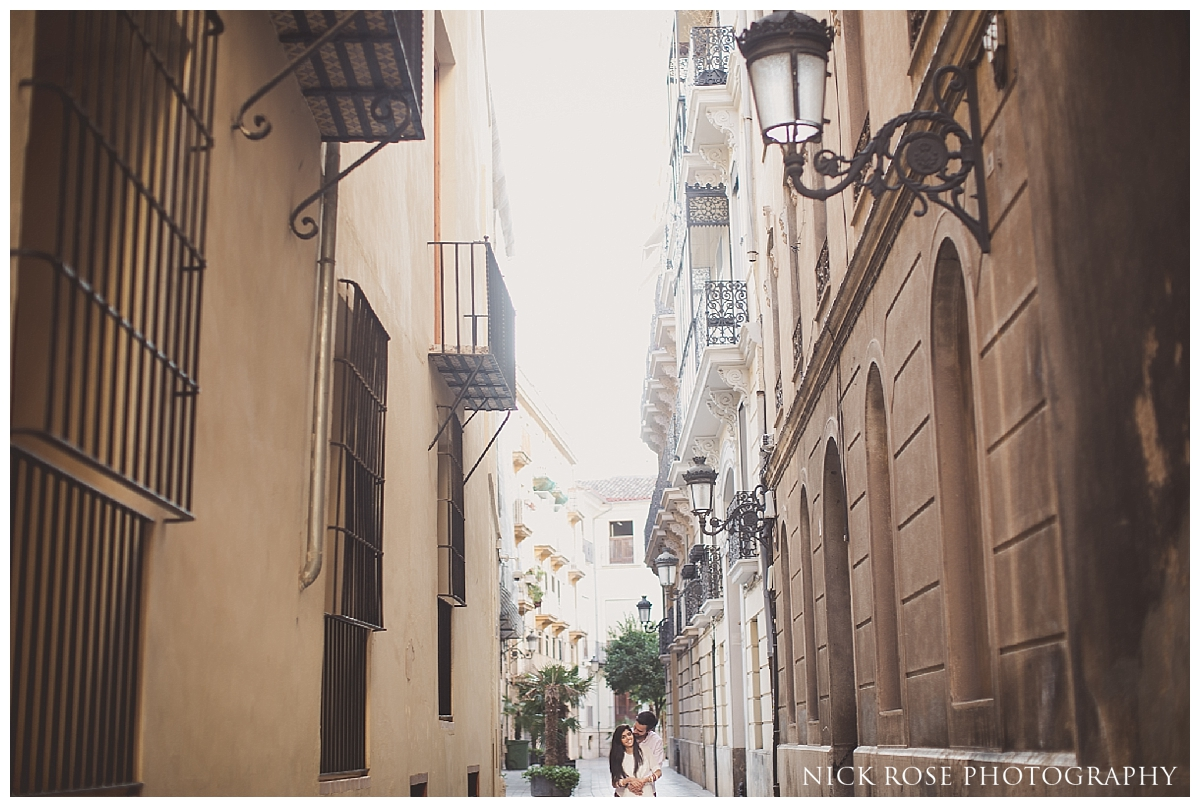 Destination Indian pre wedding photography in the old town of Valencia, Spain