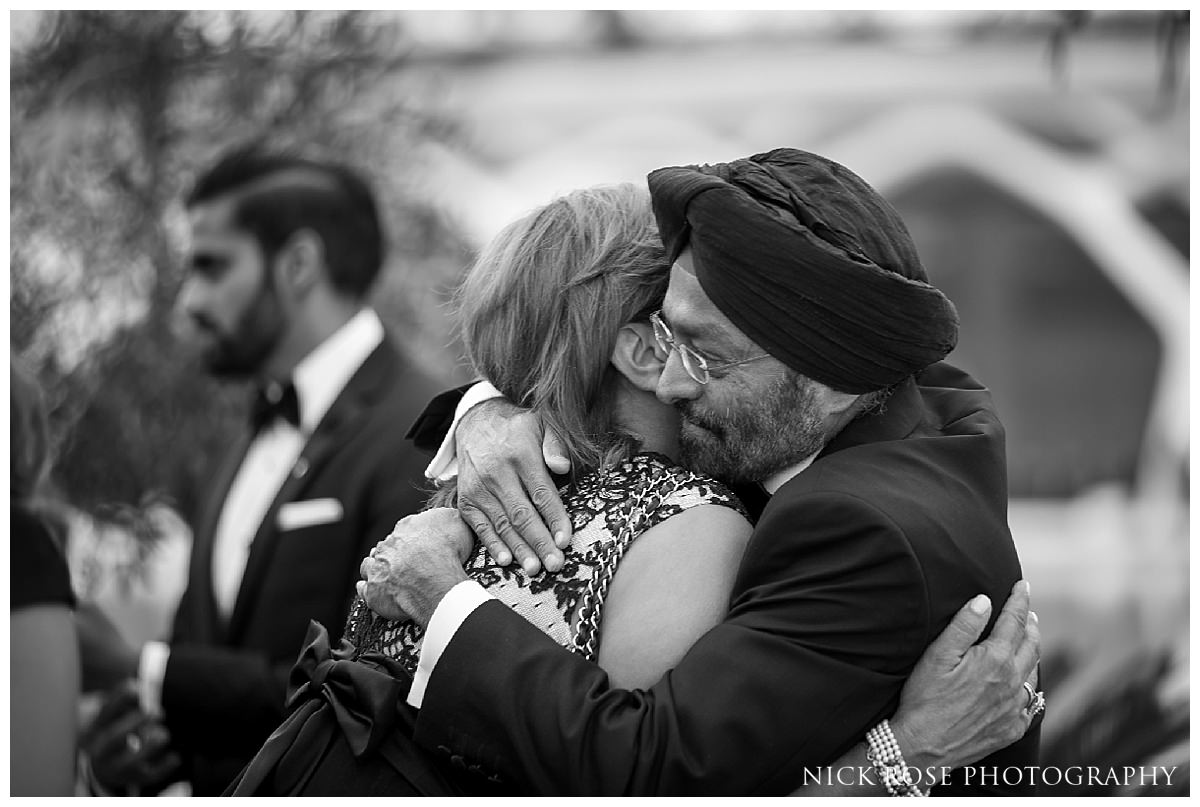 Destination Sikh wedding reception at The Hemisfèric, City of Arts in Valencia, Spain