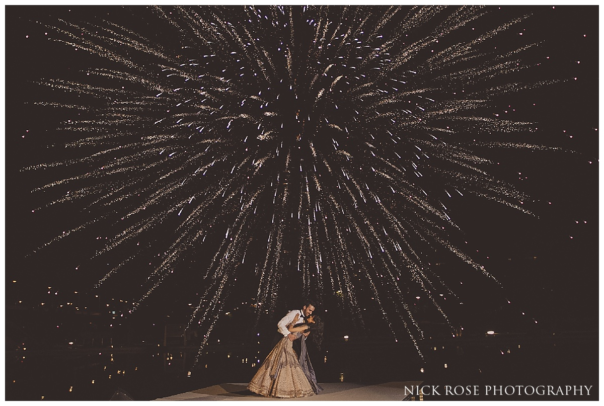 First dance fireworks display during a destination Sikh wedding at The Hemisfèric, City of Arts in Valencia, Spain