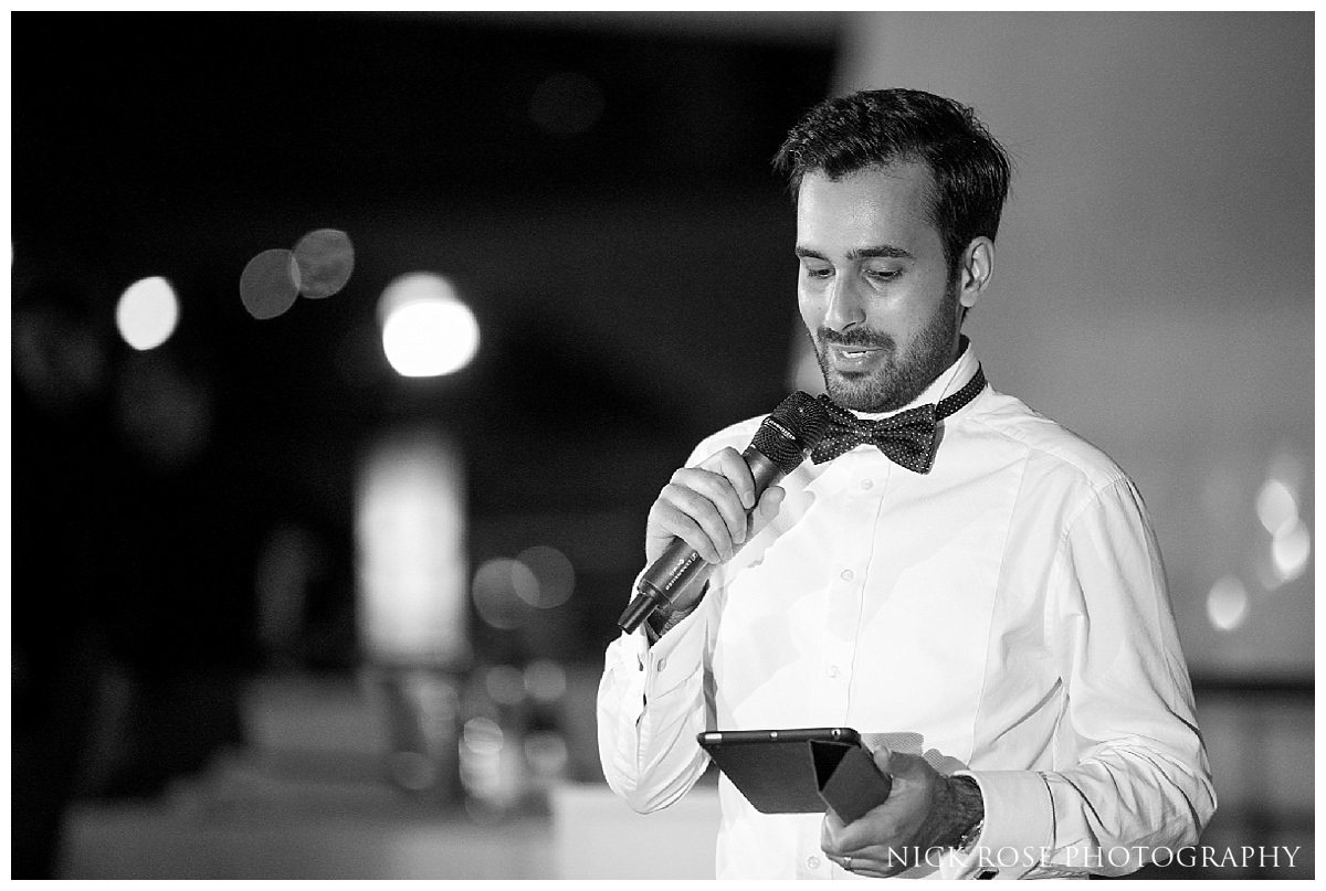 Groom speech for a destination wedding at The Hemisfèric, City of Arts in Valencia, Spain