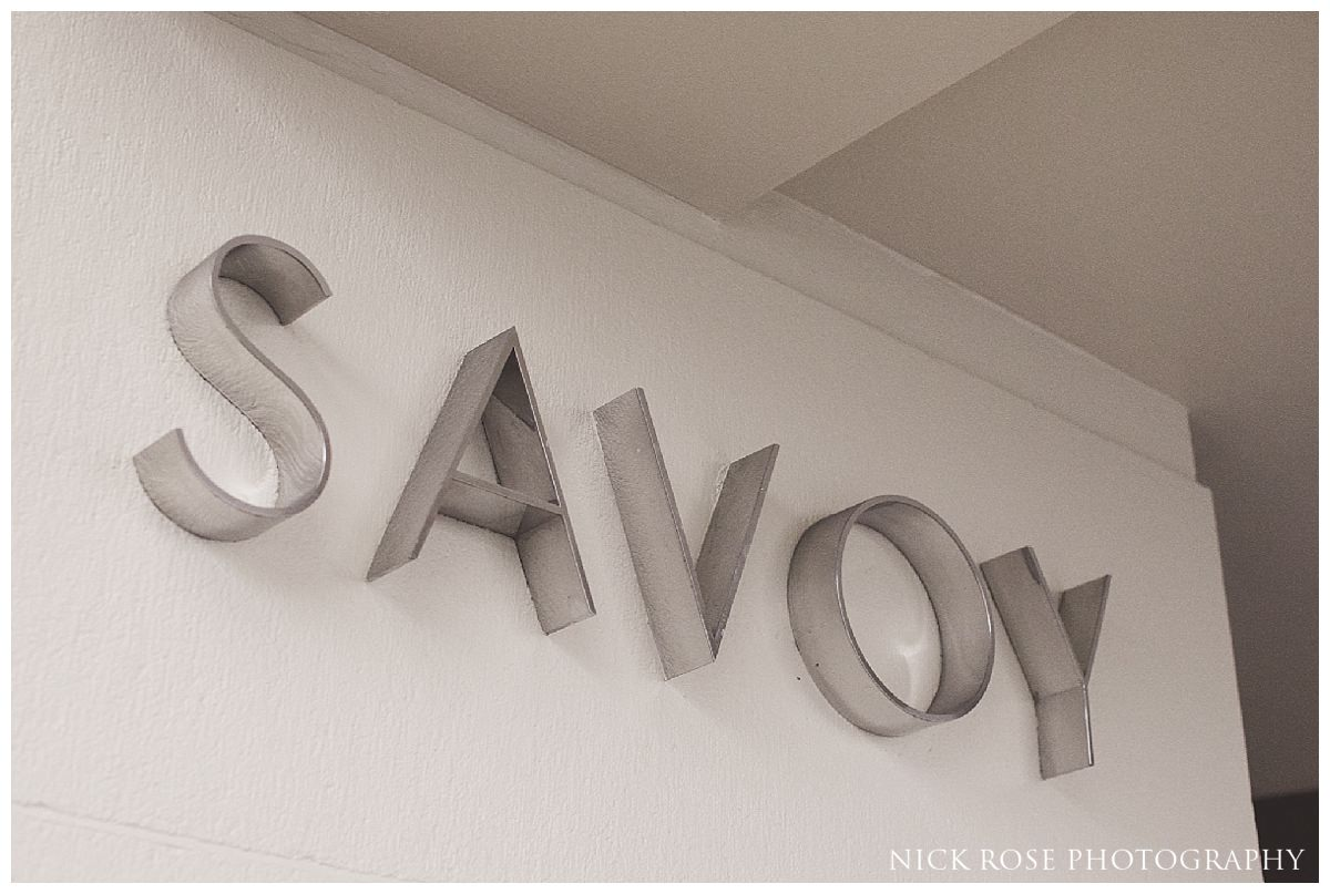 The Savoy Hotel sign in London