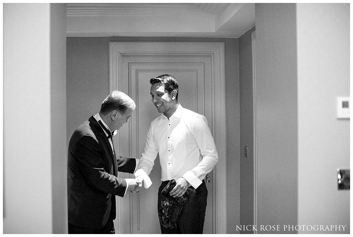 Groom getting ready for a Savoy London wedding
