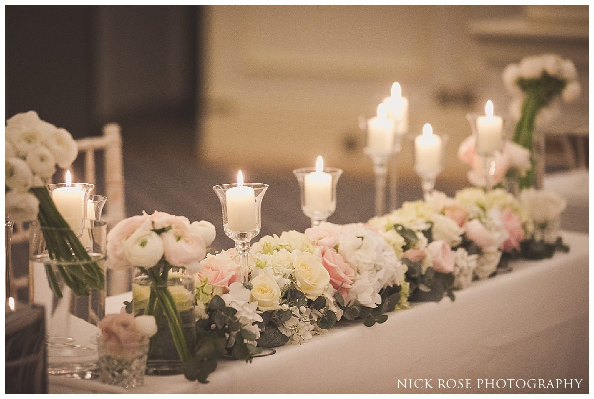 Wedding ceremony floral decorations for a wedding at The Savoy London