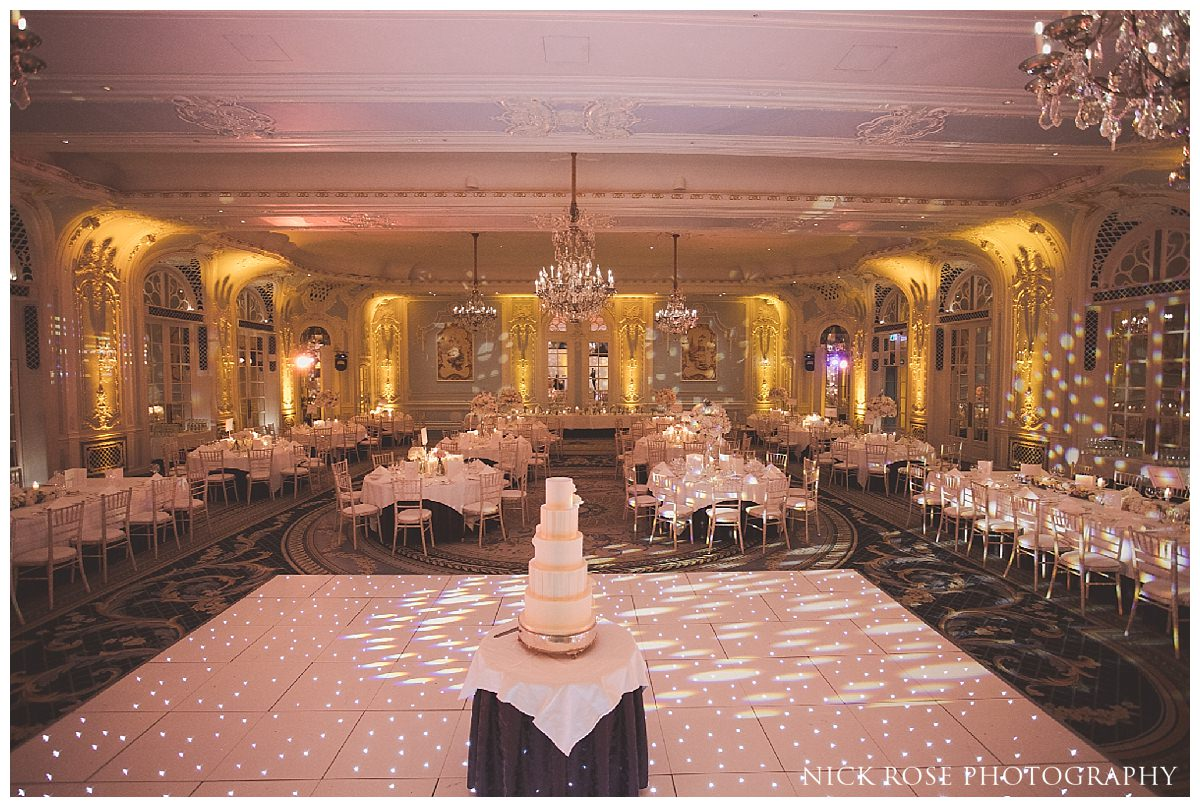 Sugared Saffron Wedding Cake Company cake in the Lancaster Ballroom at The Savoy London
