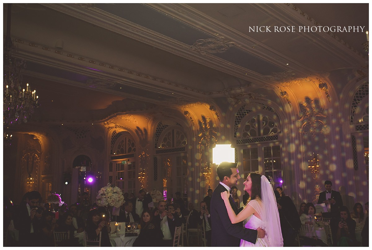 Bride and groom first wedding dance at The Savoy