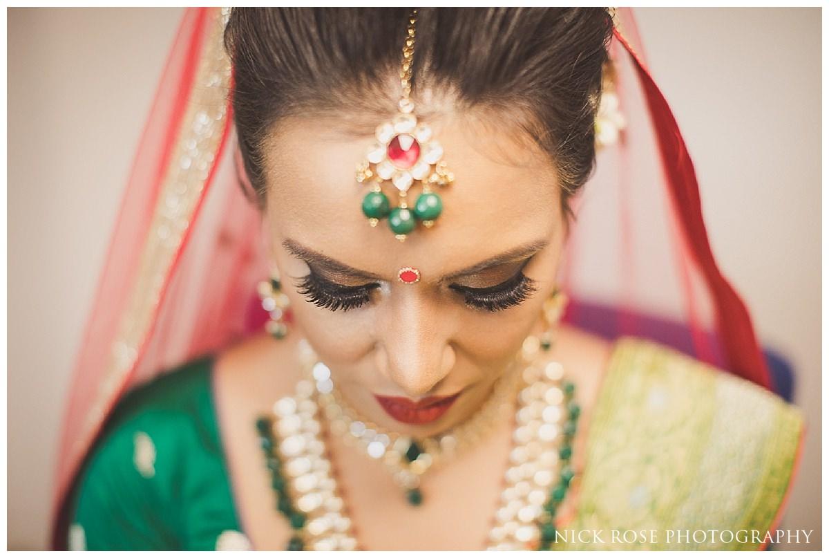 Hindu bride before a Potters Bar wedding at the Oshwal Centre