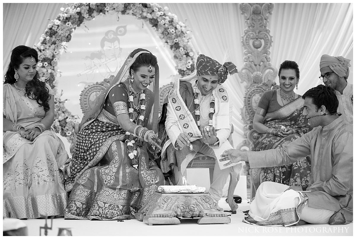 A colourful hindu wedding ceremony in Hertfordshire