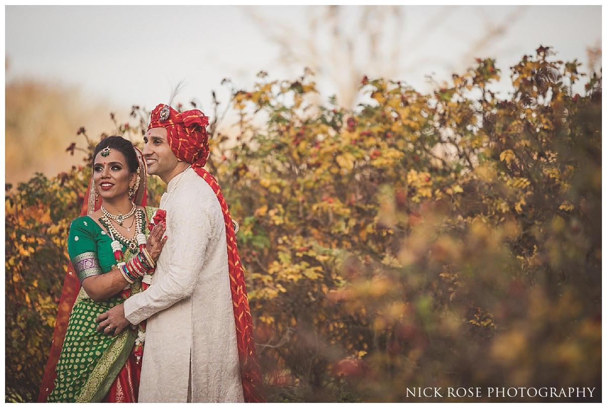 Hindu bride and groom wedding photography portrait at the Oshwal Centre in Potters Bar