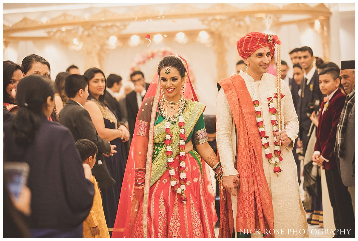 Indian bride and groom during a Hindi wedding in Hertfordshire
