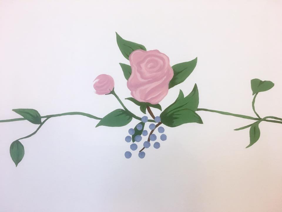 Detail of completed rose mural for baby room