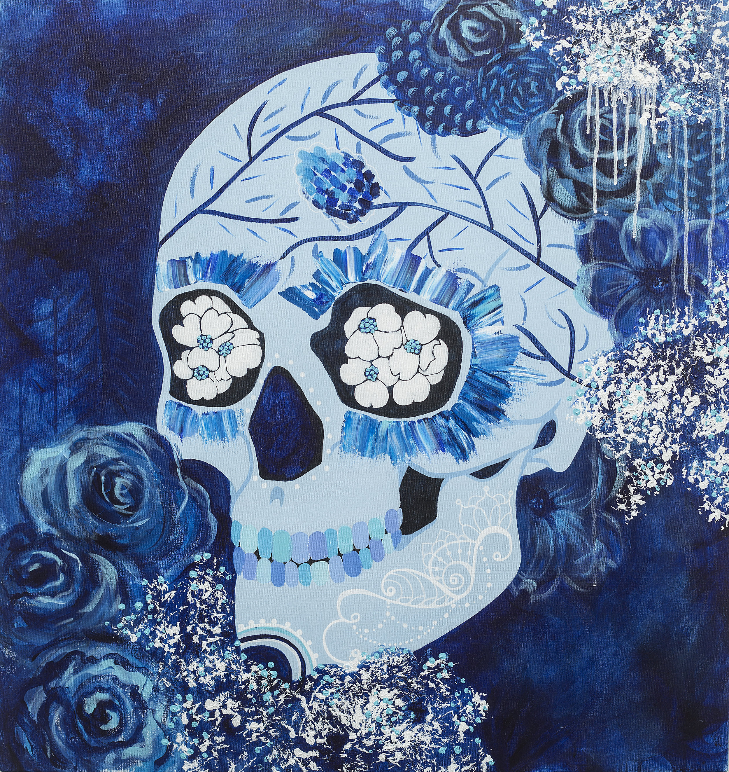 "Project: Sugar Skull for Private collection - 3 ft X 3.5 ft"" / Mixed Media on stretched canvas"