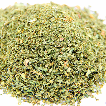 Slightly spicy aroma, tastes tangy and herbaceous. Parsley is an excellent source of iron, vitamin A and C. It is widely used in sauces, salads and omelets, soups, and stew.