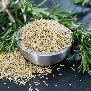 The flavor of rosemary is strong, warm and pungent, resinous and slightly bitter. Tastes like nutmeg and camphor. The aftertaste is woody, balsamic, and astringent. Can be accompanied with olive oil to fry vegetables. It is used with veal, lamb, and poultry.