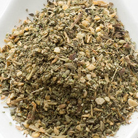 A delicious organic blend of: marjoram, basil, minced garlic, minced onion, oregano, crushed chili, rosemary and thyme