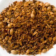A delicious organic blend of: garlic, black pepper, paprika, dill seed, crushed chili, coriander, rosemary, thyme, yellow mustard seed, and lemon peel