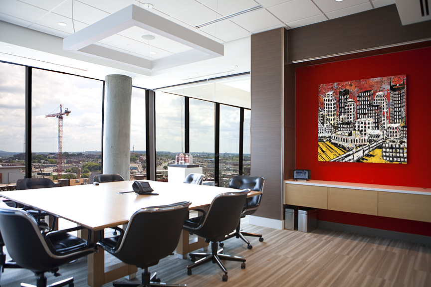 """Nashville Mixed Media Landscape"" ©Daryl Thetford installed at ESa headquarters"