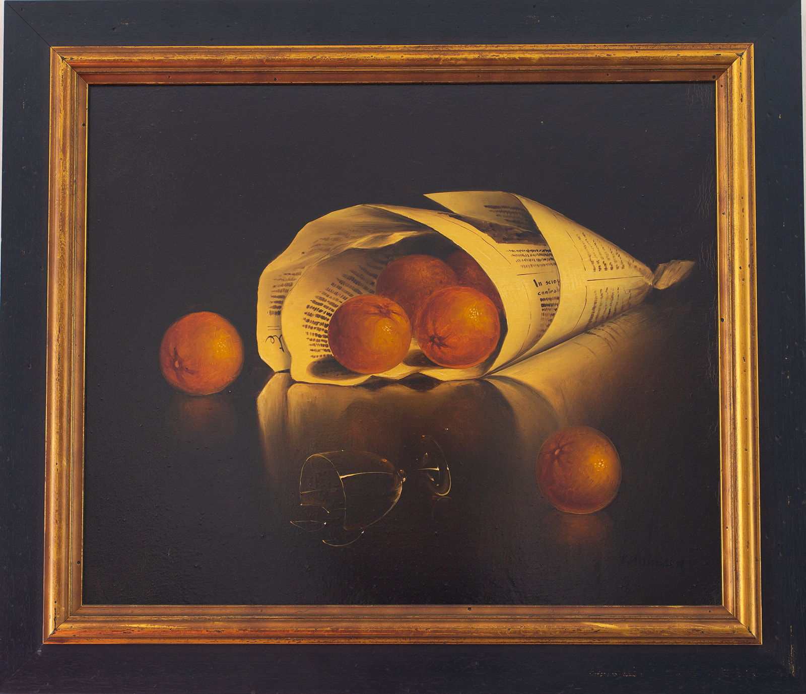 "Salvatore Langella ""Still Life, Oranges and Wine Glass"""