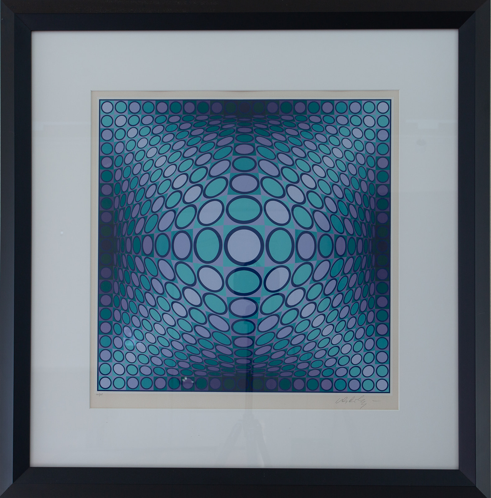 "Victor Vaserely ""Aqua and Purple Circles ed. 317/325"""