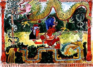 Defense : The moral ascendance of men over women is reflected in the sacredness of snakes, flying dragons, and feathered serpents, gradually identified with the worship of the sun and the single male god.