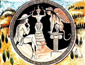 Response : Greece's Oedipus, outwitting and dominating the Sphinx monster and marrying his mother represents Partiarchy's Greek snake man rising to power over women.
