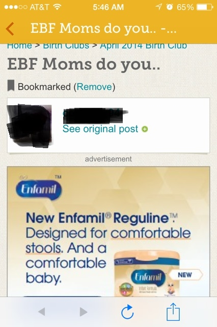 A post about exclusively breastfeeding on a message board... Sponsored by formula.