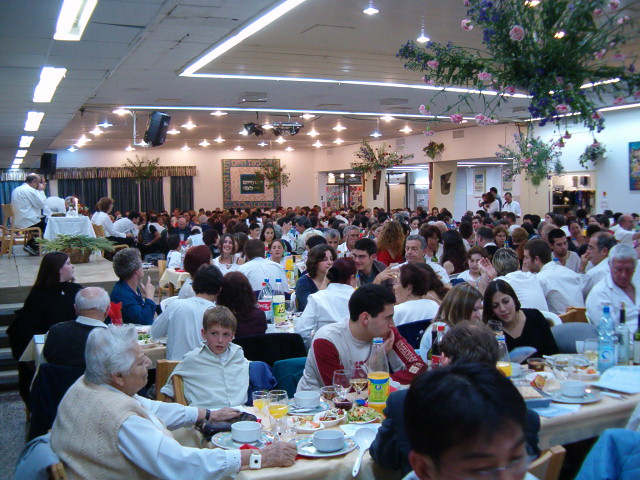Pesach dinner in the Dining Room at Kibbutz Evron