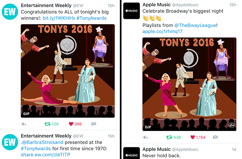Apple Music shared the GIF on their  Twitter  and  Facebook , and it was picked up by Entertainment Weekly, The Tony Awards, and other outlets.