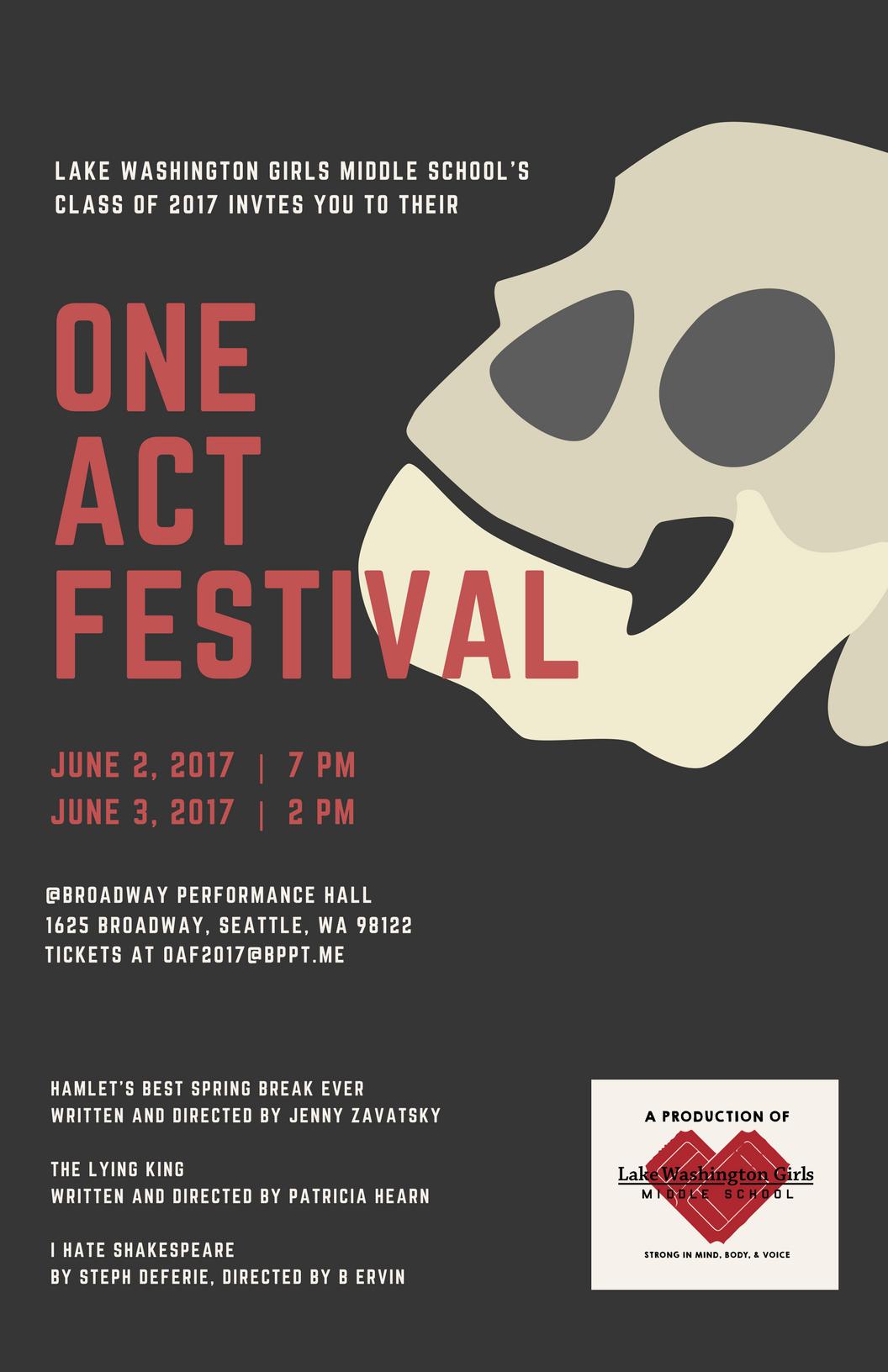 Lake Washington Girls Middle School One Act Festival, 2017