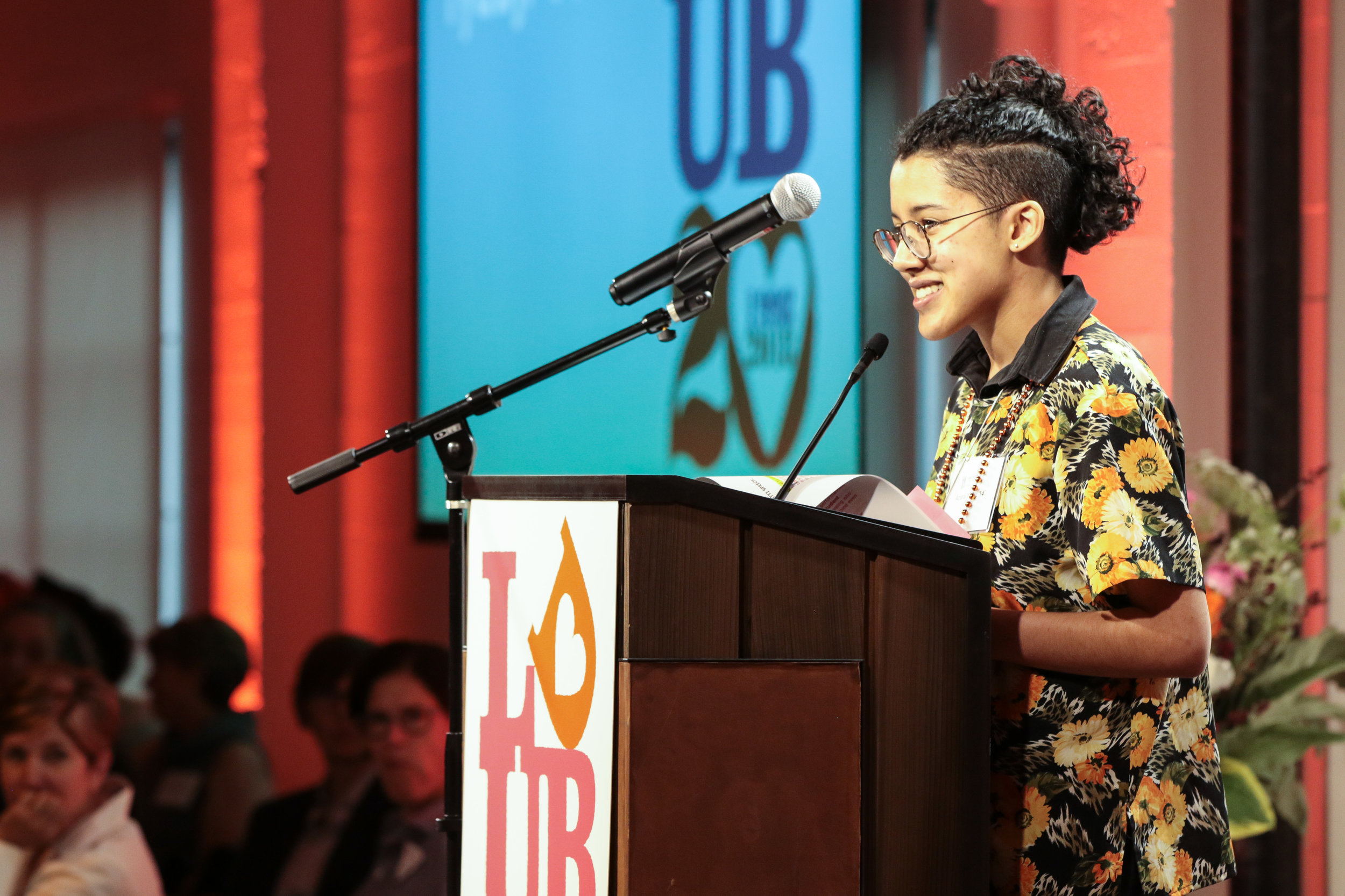 Azura Tyabji '14, performing her poem  for female revolution, for girls.
