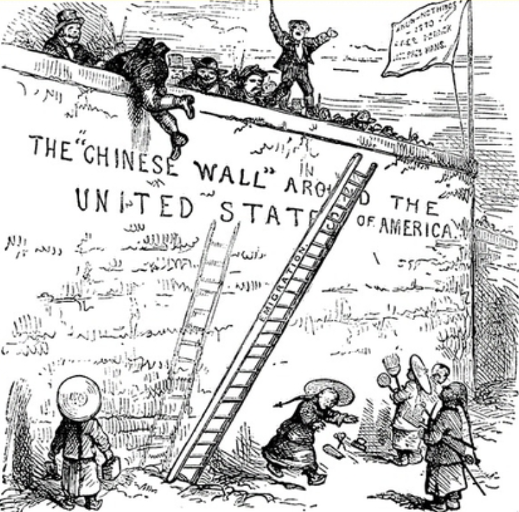 "A political cartoon from 1882, showing a Chinese man being barred entry to the ""Golden Gate of Liberty"". The caption reads, ""We must draw the line somewhere ..."""