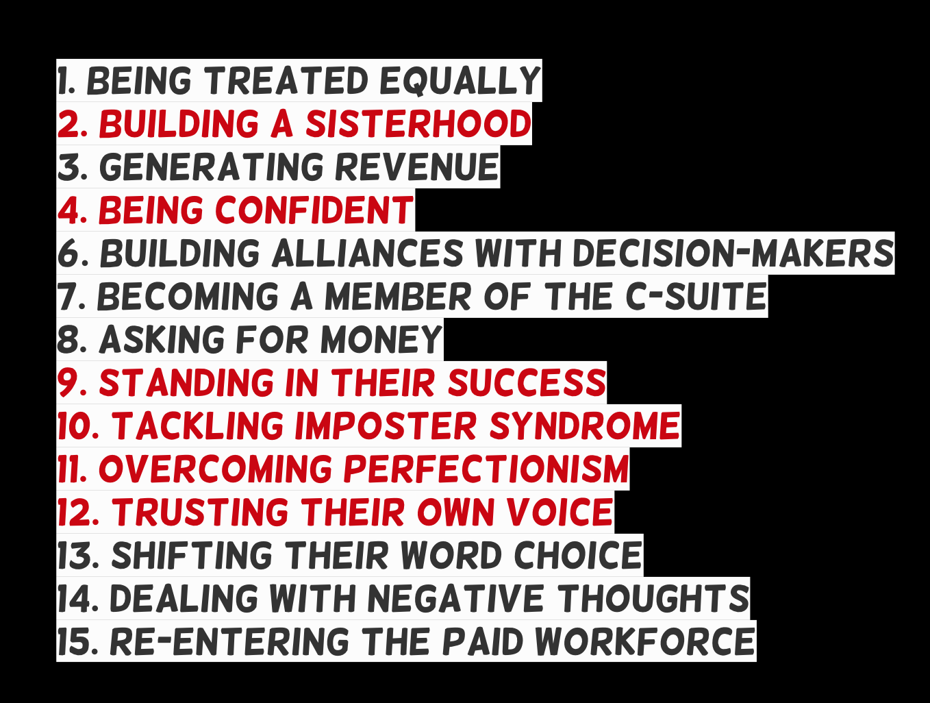 1. Being Treated Equally  2. Building A Sisterhood  3. Generating Revenue  4. Being Confident  6. Building Alliances With Decision-Makers  7. Becoming A Member Of The C-Suite  8. Asking For Money  9. Standing In Their Success  10. Tackling Imposter Syndrome  11. Overcoming Perfectionism  12. Trusting Their Own Voice  13. Shifting Their Word Choice  14. Dealing With Negative Thoughts  15. Re-Entering The Paid Workforce