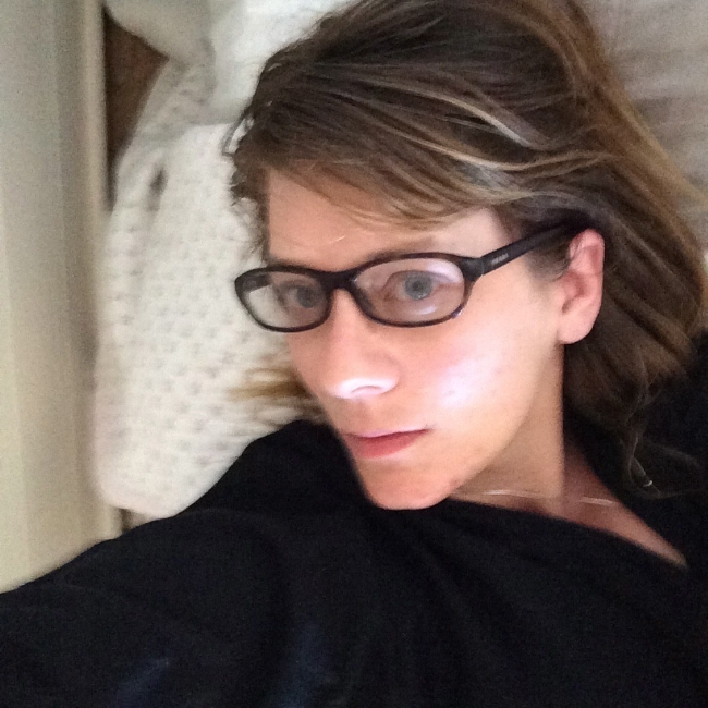 Me before a podcast interview in bed again oh the Spoonie Life