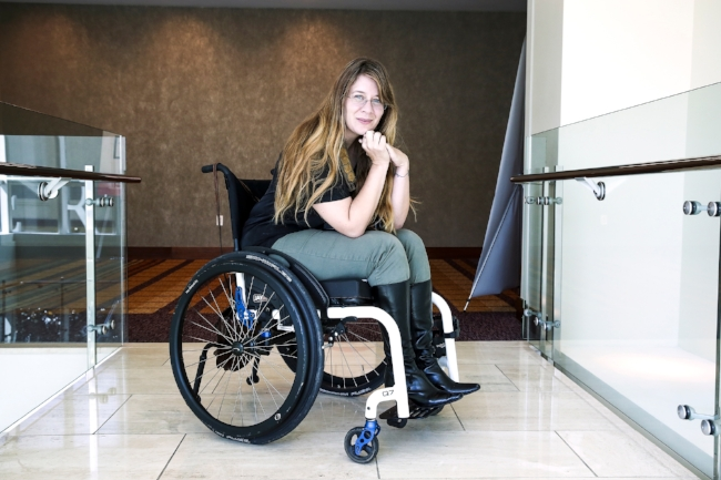 Watch your toes if you are rude to a grumpy girl in a wheelchair