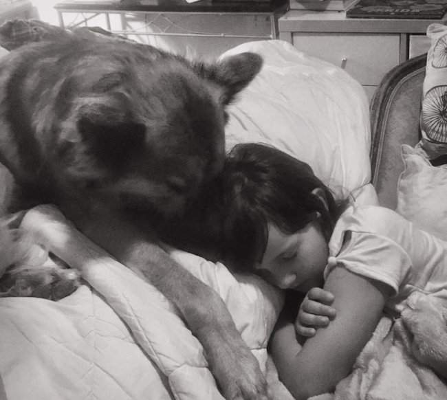 little-girl-and-german-shepard-black-and-white-photo
