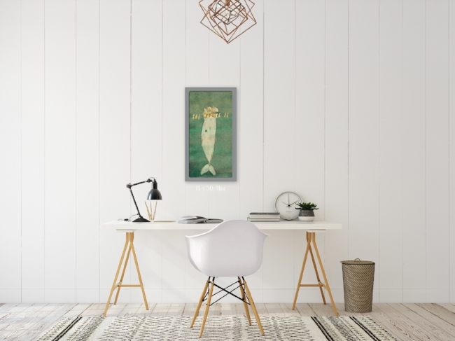 Shiplap Minimal Office With Whimsical Gold Foil Whale Wall Art