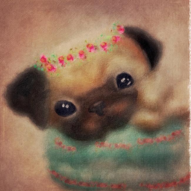 Pug Puppy in Tea Cup Illustration Concept Art for Kidlit Picture Book Miss Adeline's Magic Tea Shop