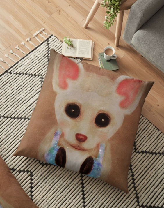 Chihuahua With Galaxy Headphones Home Decor