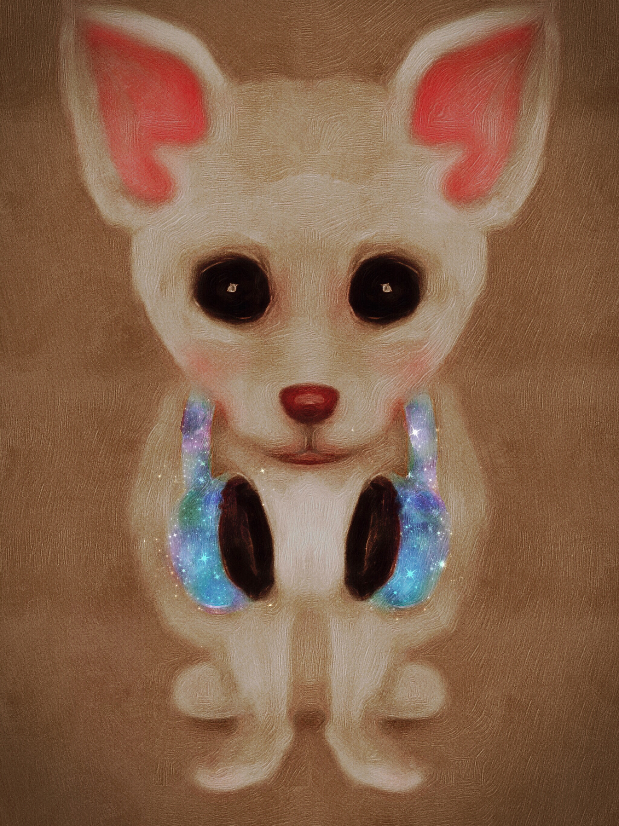 Chihuahua With Galaxy Headphones Illustration