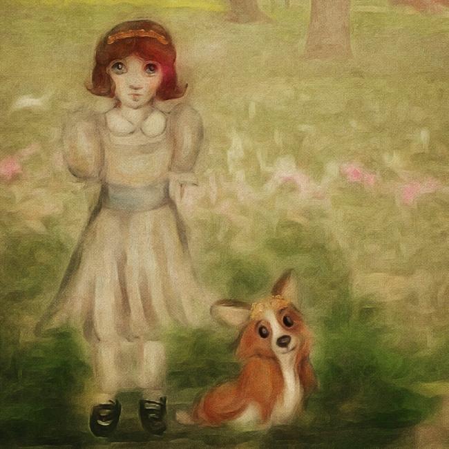 Queen Elizabeth with Dookie illustration