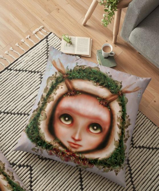 Floor Pillow Pop Surrealist Fairy
