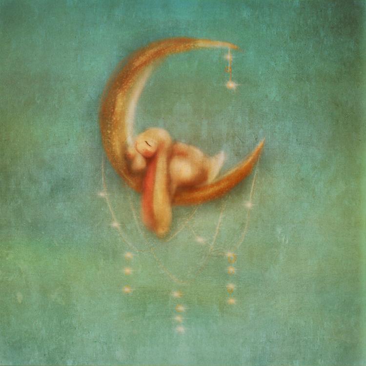 Illustration of Baby Bunny Sleeping On The Moon