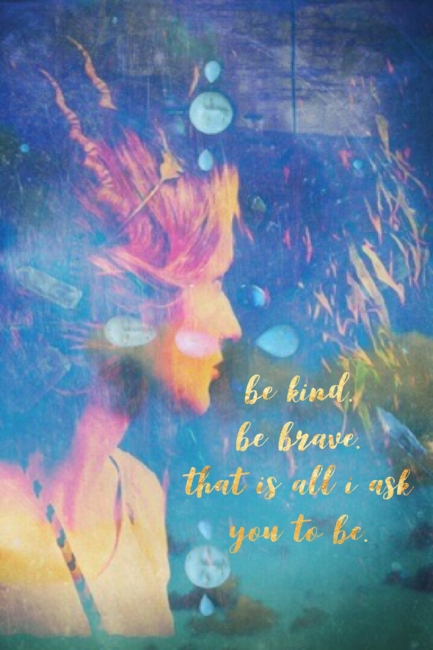 Kind and Brave Motivational Quote With Fairy Profile and Gem Stone Mandala Wall Art