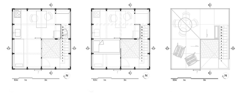 Plantas de Nivele bajo, Mezzanine y Cubiertas