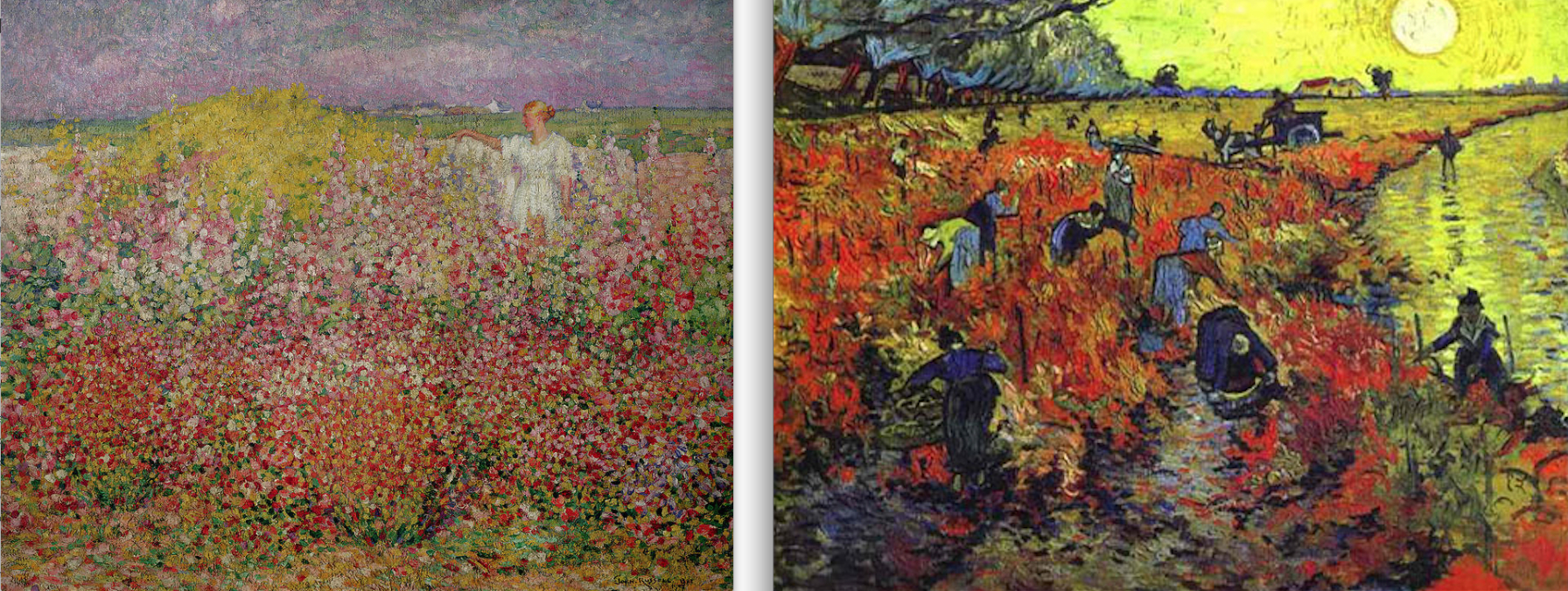 Left: John Peter Russell 'Mrs Russell among Flowers in the Bay of Goulphar' 1907  Right: Vincent Van Gogh 'The Red Vineyard', Arles 1888